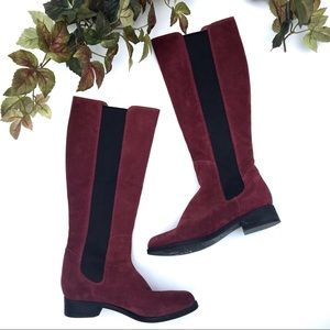 Cole Haan Burgundy Suede Tall Riding Boots 9